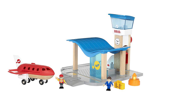 Airport with Control Tower & Wooden Train - Jouets Choo Choo