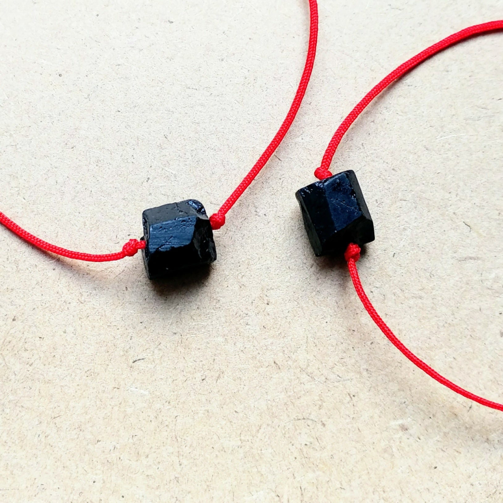 Black tourmaline bracelets with red cord