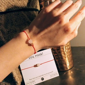 Rotes Armband mit Rosenquarz und Roségold, YOU ROCK, Kupferflasche forrest and love