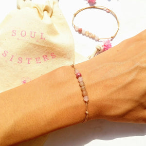 SOUL SISTERS bracelets - rose quartz sunstone rhodonite