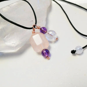 Healing gemstones necklace for harmony Rose quartz rock crystal amethyst
