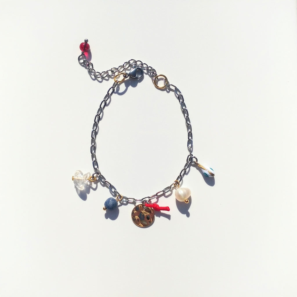 Armband Silber rot blau Gold mit Charms