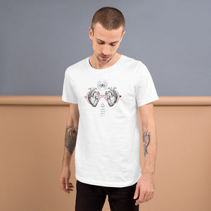 Kurzärmeliges Unisex T-Shirt | Look with your heart | Anatomisches Herz Zeichnung