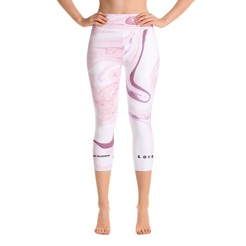"Yoga 3/4 Leggings ""Love is my religion"" - rosa weiß marmoriert"