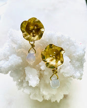 Load image into Gallery viewer, Opalite earrings made with brass from Full Moon Designs
