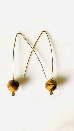 Tigers eye brass earrings