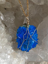 Load image into Gallery viewer, close up of bright blue quartz necklace gemstone jewellery, full moon deisgns