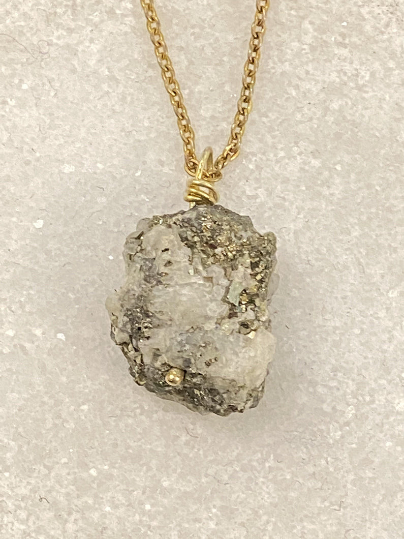 pyrite gold necklace, natural gemstone jewellery by full moon designs brixton