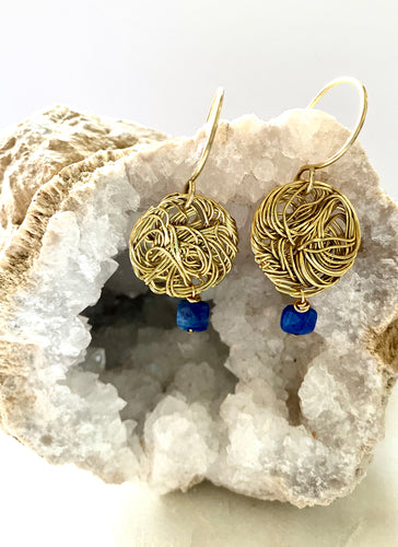 Lapis Lazuli meche brass earrings