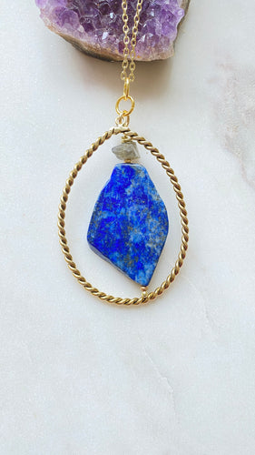 Lapis Lazuli and Labradorite Brass Necklace