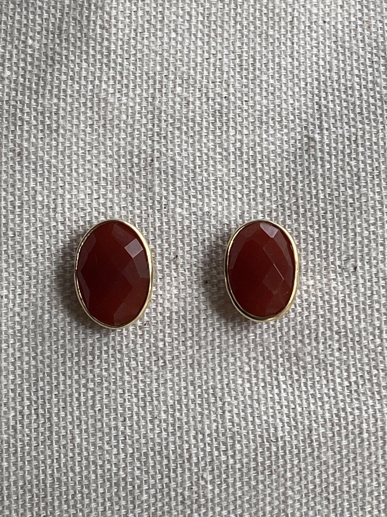 Carnelien Gold on Silver Studs - Full Moon Designs