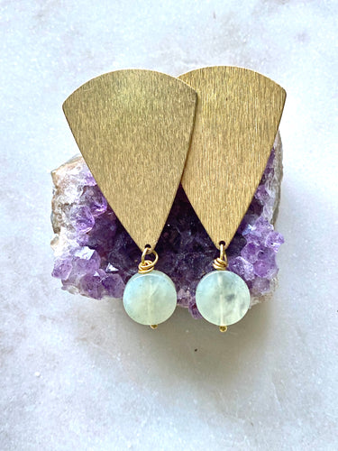 Jade brass earrings
