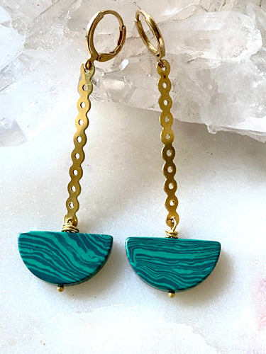 Malachite Brass Earrings