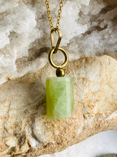 Green Aquamarine brass Necklace handmade