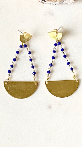 Lapis Lazuli Brass Earrings