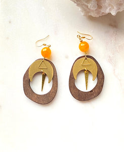 wood and orange agate earrings