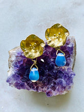 Load image into Gallery viewer, Brass Opalite Earrings on.Amethyst