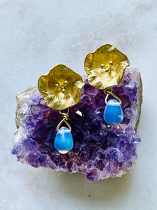 Brass Opalite Earrings on.Amethyst