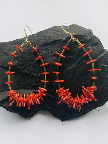 Sea bamboo Red and Gold Earrings - Full Moon Designs