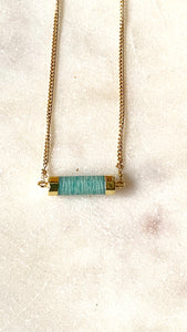 Amazonite gold necklace seen from the front