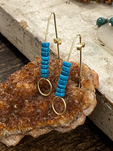Turquoise Brass Earrings - Full Moon Designs