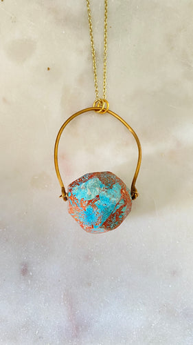 Jasper brass necklace
