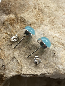 Chalcedony (Blue) Sterling Silver Studs - Full Moon Designs