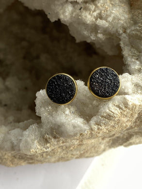 Drusy (Black) Gold on Silver Studs - Full Moon Designs
