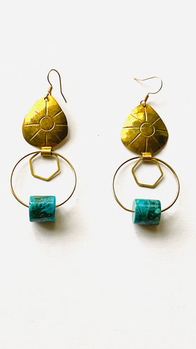 Chrysocolla Brass Earrings