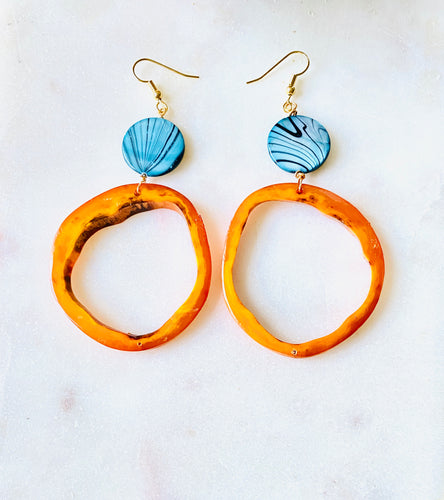 Recycled Horn with Blue Shell Gold Earrings