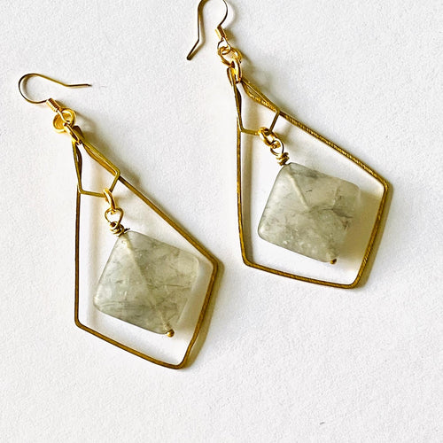 Grey agate brass earrings