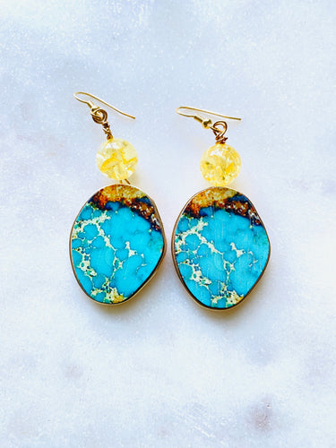 Wood with Blue Turquoise colour Gold Earrings