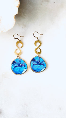 blue wood gold earrings