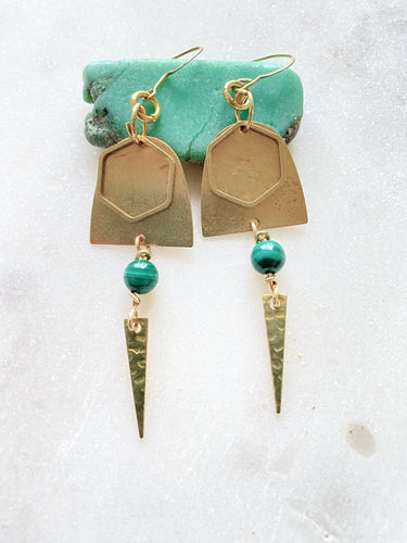 Brass with  malachite earrings