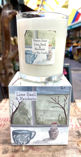 Candle - Vegan. Lime, Basil and Mandarin - Full Moon Designs