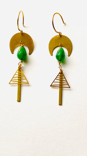 Green agate Brass Earrings