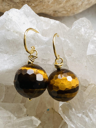 Tiger's Eye Gold Earrings - Full Moon Designs