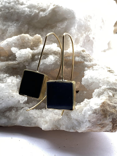 black stone top earrings with gold backs, square edgy minimalist design, handmade in brixton