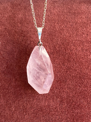 Rose Quartz Sterling Silver Pendant Necklace - Full Moon Designs
