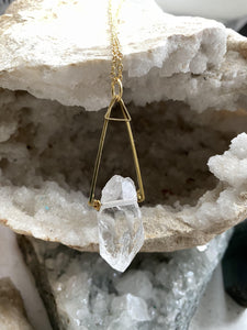 quartz clear brass necklace. Hand made by Full Moon Designs