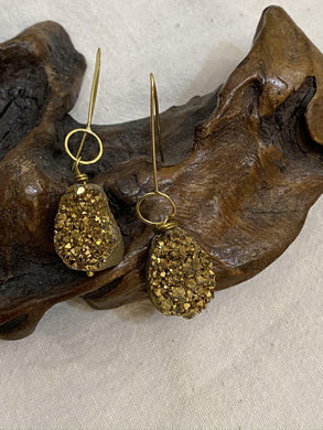 Drusy and Brass Earrings