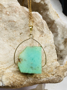 Chrysoprase Gold on Silver Pendant by full moon designs jewellery