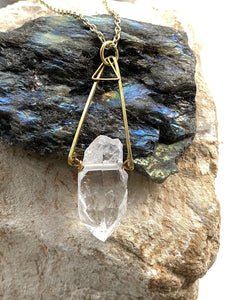 quartz clear brass necklace