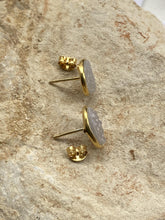 Load image into Gallery viewer, Drusy (Grey) Gold on Silver Studs - Full Moon Designs