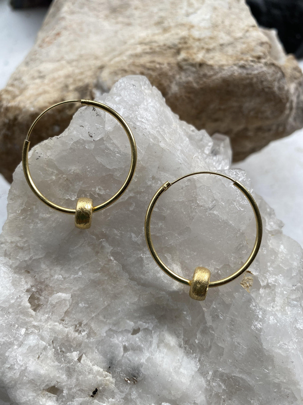 medium chunky hoop earrings with removable gold bead, versatile handmade natural, part of full moon designs consciousness collection