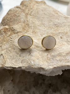 Drusy (Grey) Gold on Silver Studs - Full Moon Designs
