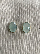 Load image into Gallery viewer, Chalcedony Gold on Silver Earrings Studs - Full Moon Designs