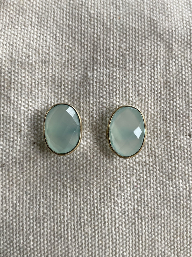 Chalcedony Gold on Silver Earrings Studs - Full Moon Designs