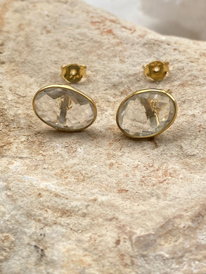 Quartz (Clear) Gold on Silver Studs - Full Moon Designs