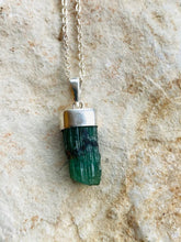 Load image into Gallery viewer, Emerald Silver Necklace by Full Moon Designs. Christmas collection